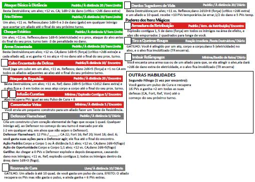 Página dos Poderes e Habilidades do Gregori - Anão Artíficer 6º Nível