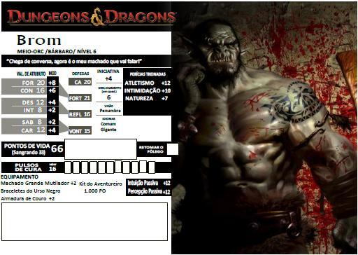 Brom - Meio-Orc Bárbaro 6º Nível - D&D 4e - Eberron
