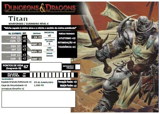 Titan - Warforged Guerreiro  6º Nível - D&D 4e - Eberron