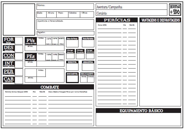 Ficha de Personagem Sistema +2d6 Frente