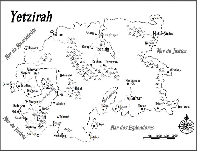 Mapa de Yetzirah - Continente Principal de Necropia, o Império dos Mortos (Clique para Ampliar)