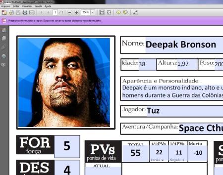 Ficha do Deepak Bronson (Space Cthulhu) completa!