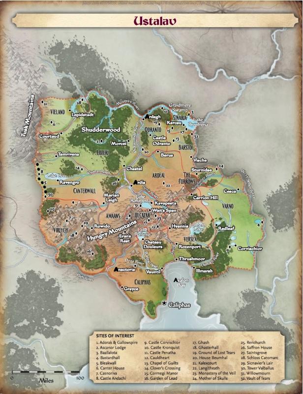 Mapa do Reino de Ustalav e Locais da Campanha