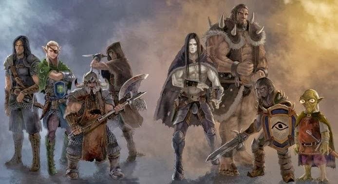 Algumas Raças de Kadur - Cenário Legião | Esq. p/Direita - Humanos, Elfos, Anões, Meio-Elfos, Tenebruns, Voldas, Anão das Sombras, Grizzis