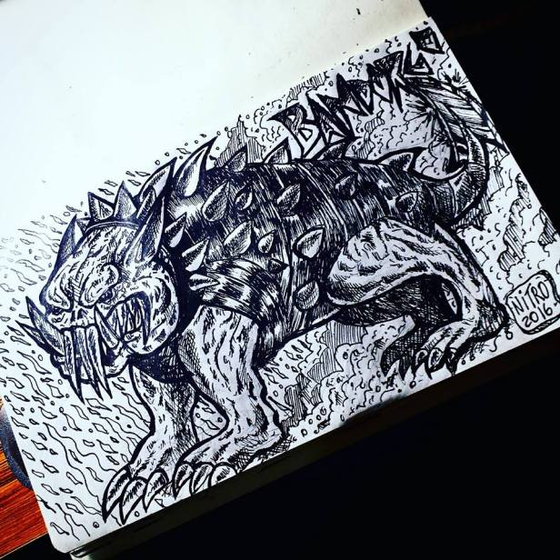 Bandorgos, Cães de Guerra dos Orcs das Montanhas | Marca da Caveira | Trilogia Legião Vol.1 | Ilustração: Newton Nitro - Outubro 2016