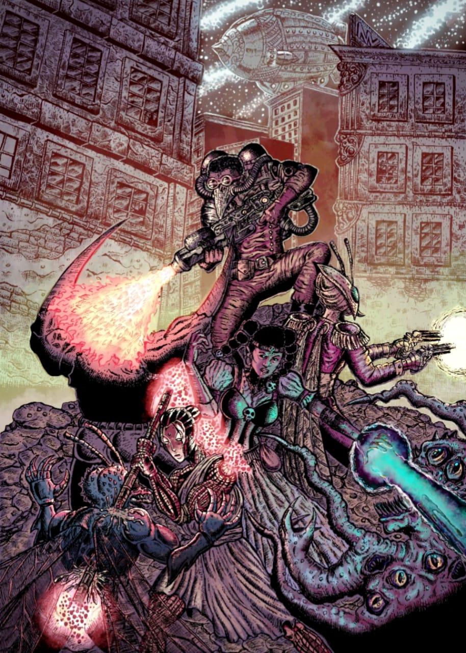 Revenantes, um famoso grupo de mercenários transhumanos Steam Runnerz lutando contra uma infestação de Aberrantes no distrito Mutatis Mutantis de InteSteam, a Cidade Estranha em 12 de Março de 1899 | Ilustração: Newton Nitro | Cores: Allan Foxlau